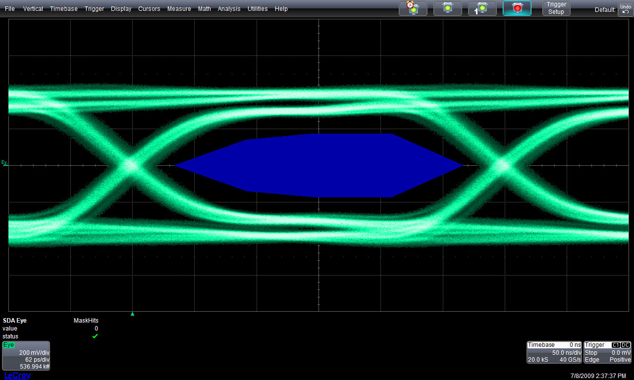 Teledyne lecroy serial data standard displayport eye diagram test this figure shows an eye diagram from a high bit rate 27 gbs signal using a 20 mhz bandwidth clock recovery function ccuart Images