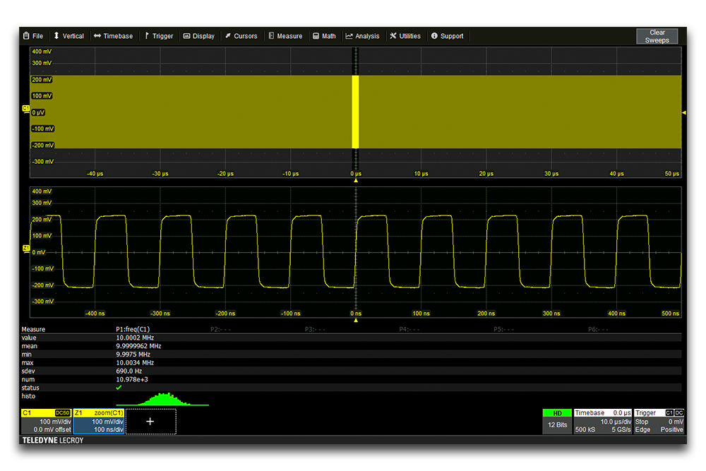 wavesurfer4000hd oscilloscope clock analysis