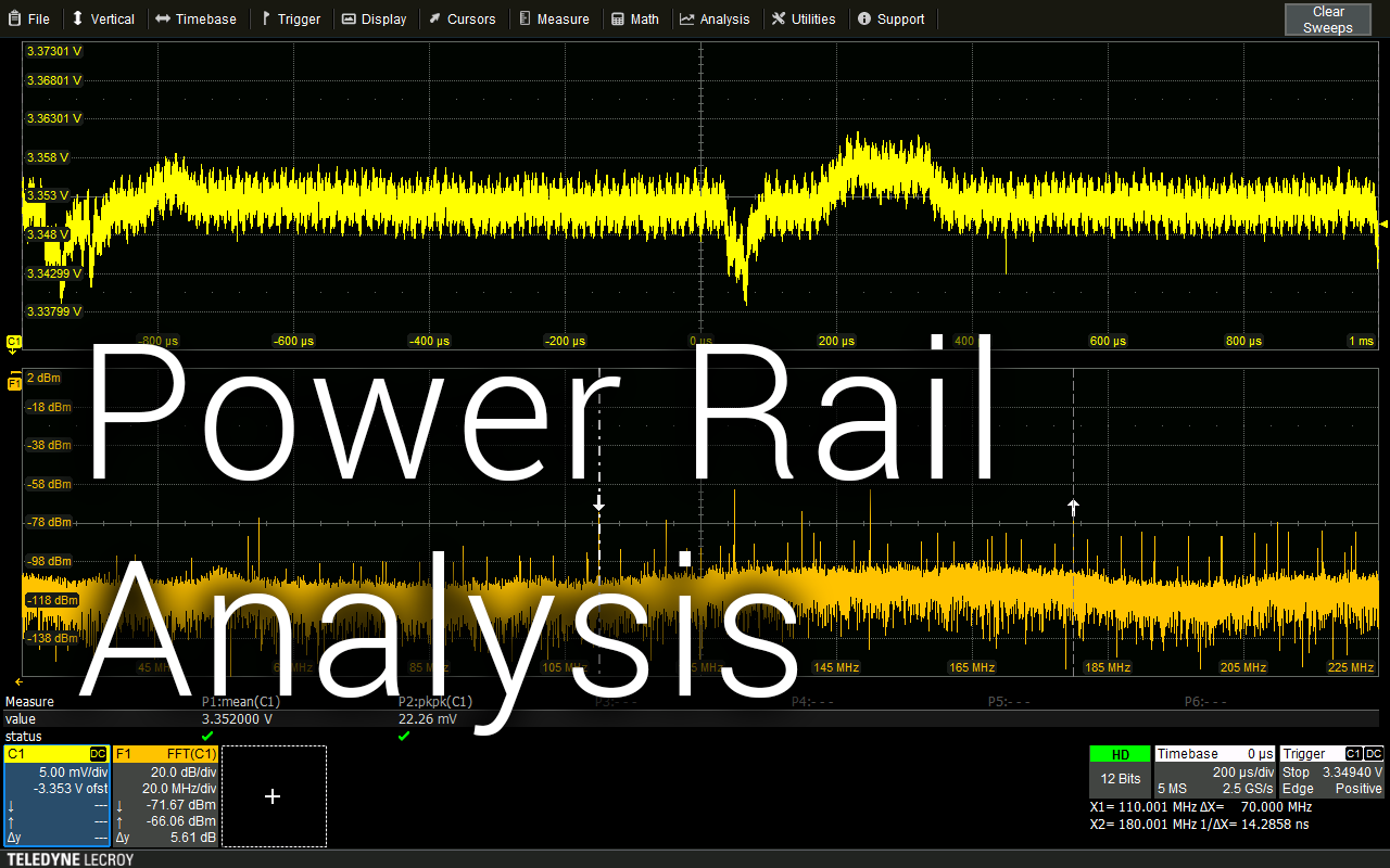 wavesurfer4000hd oscilloscope power rail analysis